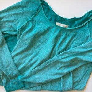 Adorable Free People Greenish/Aqua Long Sleeve